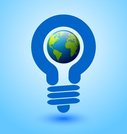 energy save: Ecology and saving energy icon with light bulb and planet Earth Illustration