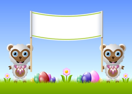 Easter sheeps with easter eggs and banner for your custom text Vector