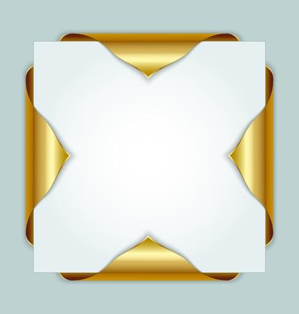 Gouden metallic bladwijzers aan de randen van papieren document Stock Illustratie