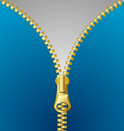 undressing: Golden or brass metallic unzipped zipper Illustration