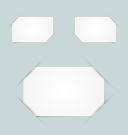 Blank paper cards inserted into another piece of paper Vector