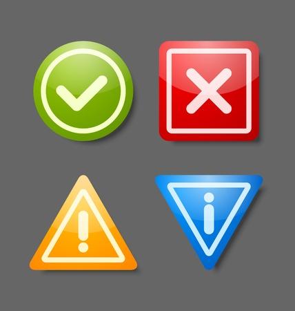 Pictogrammen voor meldingen geschikt voor custom web design en computer doeleinden