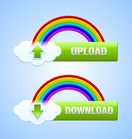 Glossy download and upload buttons useful for webdesign purposes Vector