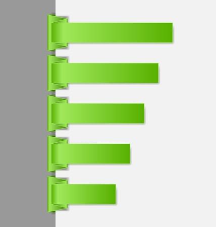 paper fold: Green folded paper menu items suitable for vertical website navigation