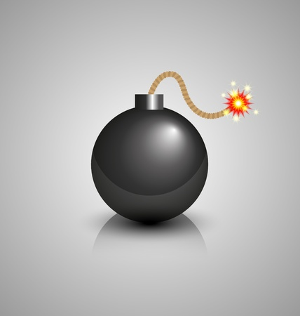 atomic explosion: Black bomb burning isolated on grey background Illustration