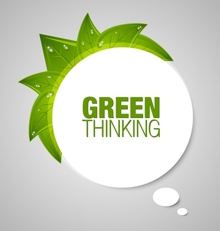 Green thinking bubble isolated on grey background Vector