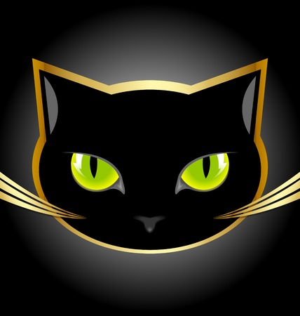 Golden and black cat head on black background Çizim