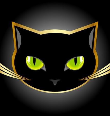 Gouden en zwarte kat hoofd op zwarte achtergrond Stock Illustratie