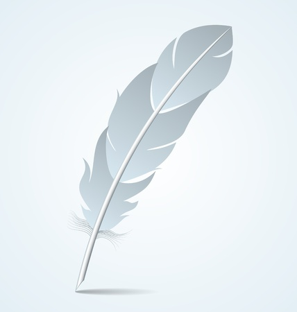 old writing: Goose writing quill isolated on light blue background
