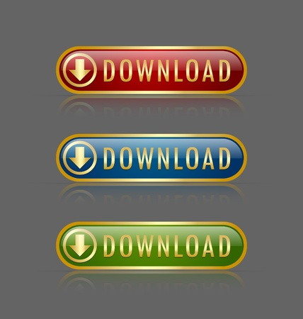 command button: Set of golden glossy download buttons