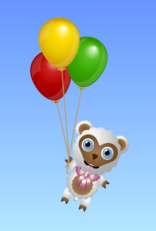 lambkin: Cute sheep character attached to the balloons and flying in the air
