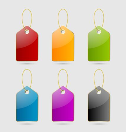 green coupon: Set of colorful price tags Illustration