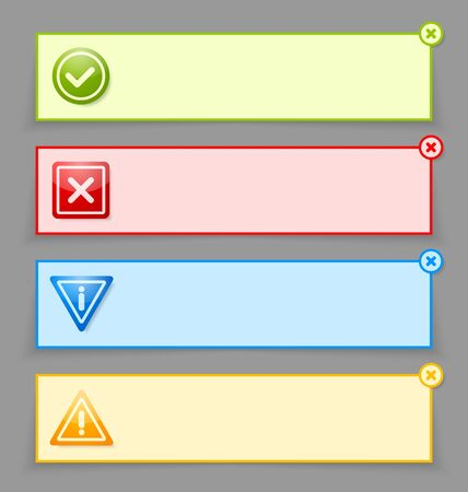 알림: 사용자 정의 웹 디자인 및 컴퓨터 목적에 적합한 알림 배너 일러스트