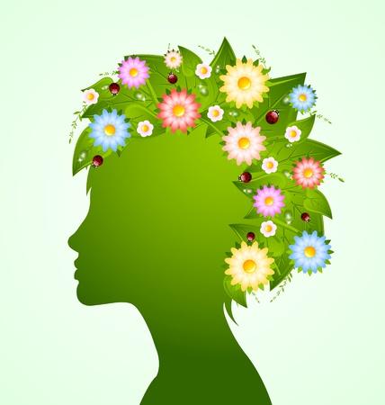 rostro mujer perfil: Silueta de mujer joven con el pelo hechas de hojas, flores y mariquitas Vectores