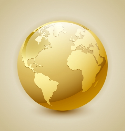 Golden glossy Earth icon isolated on background Illustration
