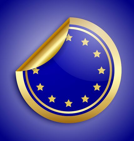Golden glossy Europe Union sticker isolated on blue background Vector