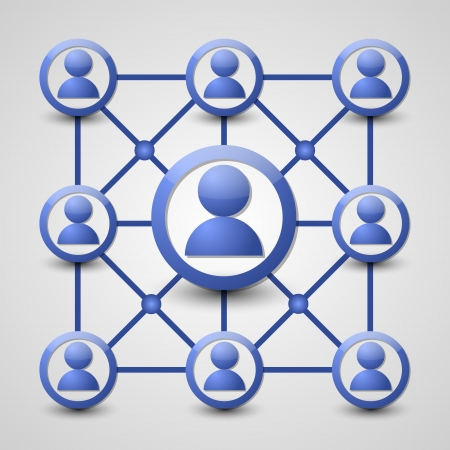 community support: Social network icon isolated on grey background Illustration