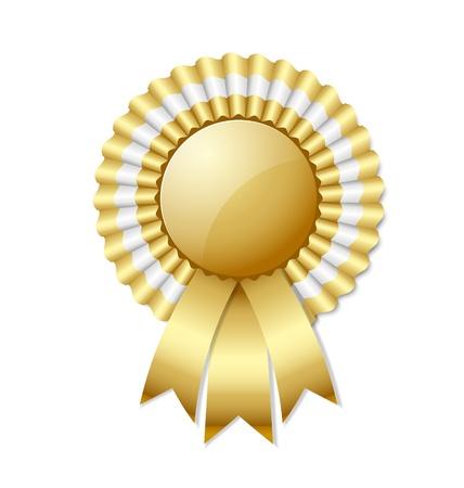 Gouden rozet op een witte achtergrond Stock Illustratie