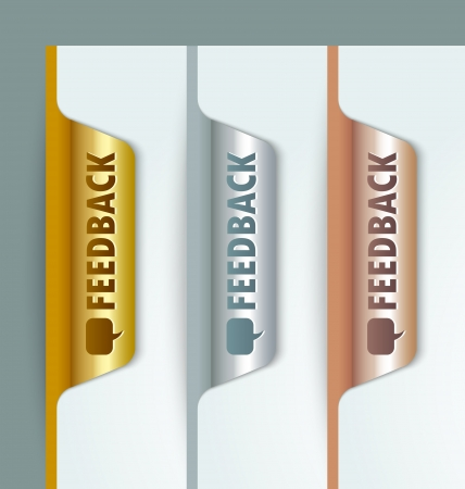 Metallic golden silver and bronze feedback bookmark buttons