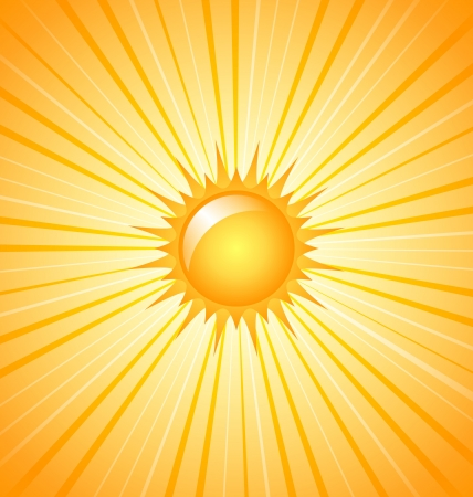 Big shining summer sun with sunbeams on the sky