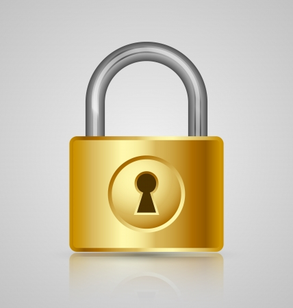 Padlock icon isolated on grey background