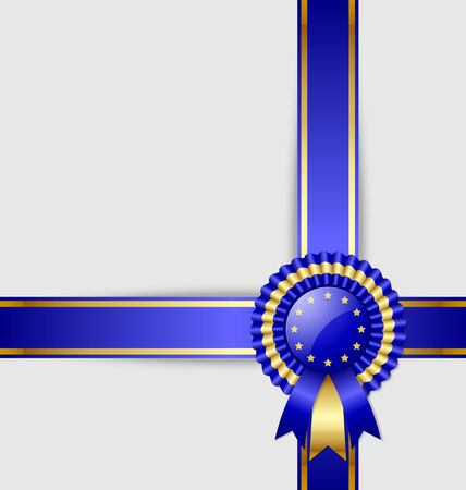 award ribbon rosette: European document template with rosette and ribbon Illustration