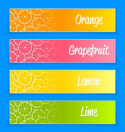 Promotional citrus banners for web design and advertising purposes