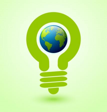 �conomie verte: Ecologie et de l'ic�ne d'�conomie d'�nergie avec une ampoule et la plan�te Terre Illustration