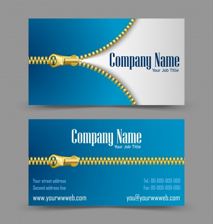 Front and back side of zipper theme business card isolated on grey background