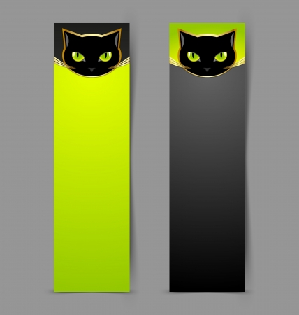 bad eyes: Black cat head banners isolated on grey background