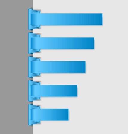 login form: Blue folded paper menu items suitable for vertical website navigation