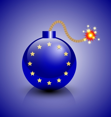 munition: Burning European crisis bomb icon isolated on blue background Illustration
