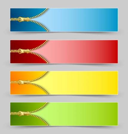 Zipper banners isolated on grey background