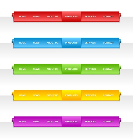 navigation object: Colorful folded paper panel bars suitable for horizontal website navigation menu Illustration