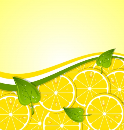 Lemon slices with leaves and ribbon document template