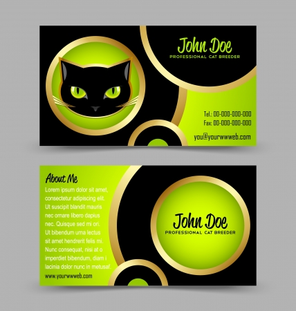 Front and back side of cat head theme business card isolated on grey background Stock Vector - 14538714