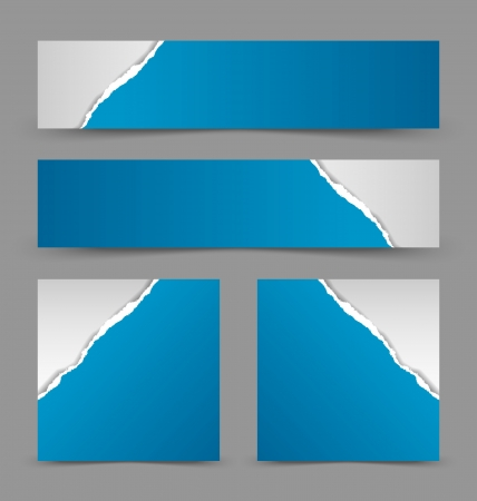 merge: Ripped paper banners isolated on grey background