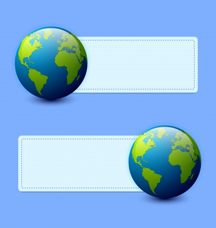 Planet Earth banners isolated on light blue background Stock Vector - 14538719