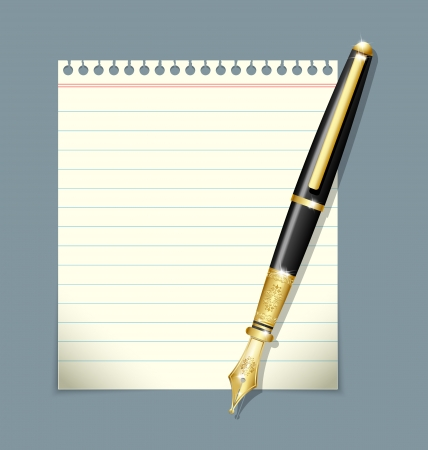 writing instrument: Ink pen and paper sheet illustration isolated on grey background Illustration