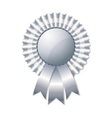 trophy award: Roseta de plata sobre fondo blanco