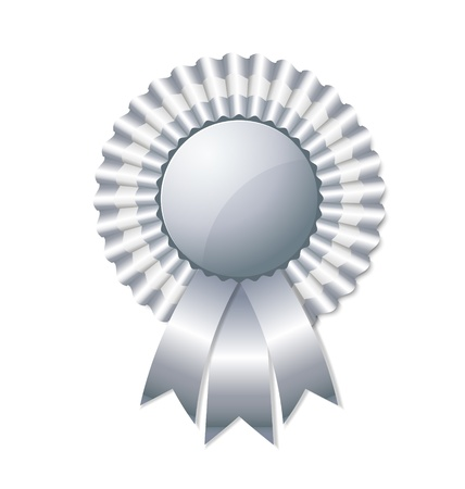 badge ribbon: Silver rosette isolated on white background