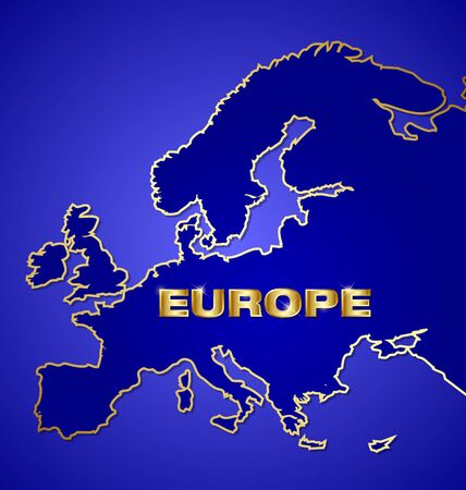 Blue and golden map of Europe with shiny metallic text Vector