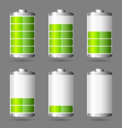 Różne stany naładowanego zielona ikona baterii