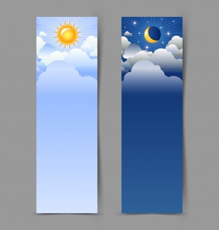 moon and stars: Day and night banners isolated on grey background