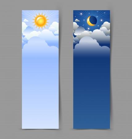 sonne mond und sterne: Tag und Nacht Banner auf grauem Hintergrund isoliert Illustration