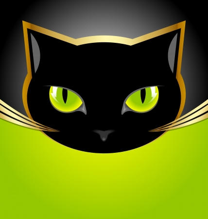 Golden and black cat head on black and green background