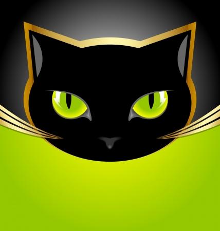 silueta gato: Gato de la cabeza de oro y negro sobre fondo negro y verde Vectores