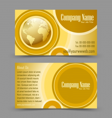 operative: Front and back side of globe theme business card isolated on grey background