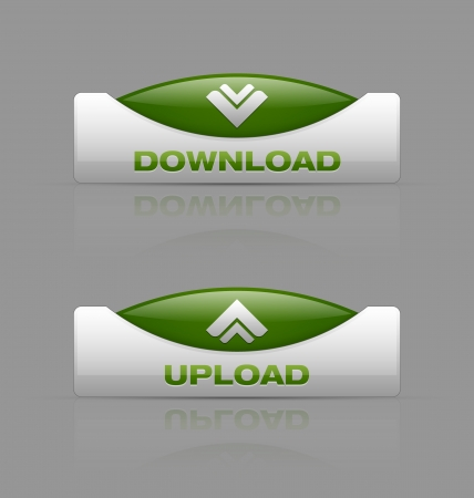download button: Glossy download and upload buttons useful for webdesign purposes