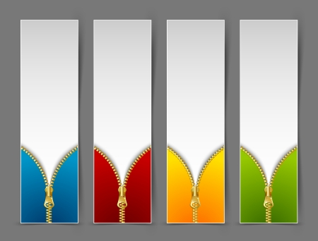 Zipper banners isolated on grey background Vector